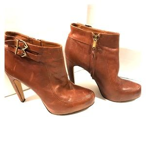 Sam Edelman heeled brown leather booties